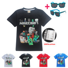New Year's boy 3D cartoon Minecraft roblox T shirt girls Tee Tops children's clothing summer clothes cotton baby clothes suit(China)