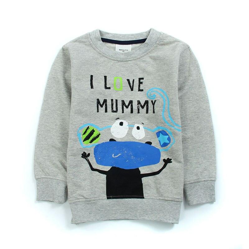 Bjt575, я люблю маму, 6 шт. /партия; футболки для мальчиков, 100% хлопок Длинные рукава футболка для 1-6 лет.