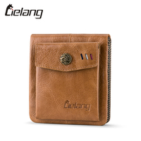 LIELANG Men Wallets 100 Genuine Leather Small Hasp Men Walet Crazy Horse Cowhide Leather Men Short