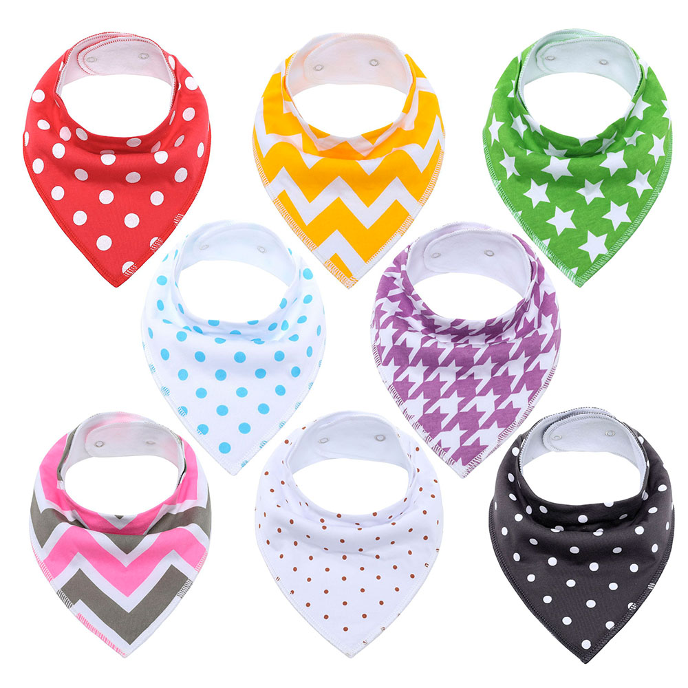 Cotton Baby Bibs Waterproof Burp Cloths Absorbent Bandana Dribble Bib with Adjustable Snaps Saliva Towel 8 Pack Perfect GiftsCotton Baby Bibs Waterproof Burp Cloths Absorbent Bandana Dribble Bib with Adjustable Snaps Saliva Towel 8 Pack Perfect Gifts