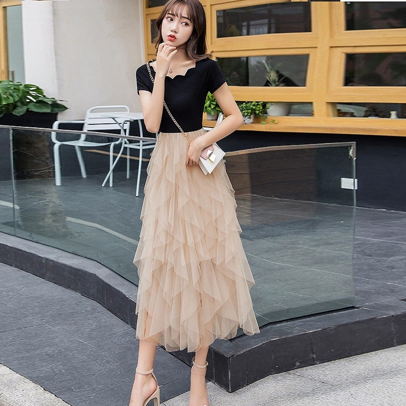 Plus Size Summer ball gown Dress slash neck cascading ruffled mesh knitted beautiful slim fit party dress casual Vestidos XXXXL