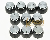 Pack Of 10 Guitar Amplifier Knobs Silver Cap Push On Knob Fits Marshall AMP