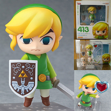 "Anime The Legend of Zelda Link figures Wind Waker Ver. #413 PVC Acton Figure Nendoroid Model Collection Toy 4"" 10cm(China)"