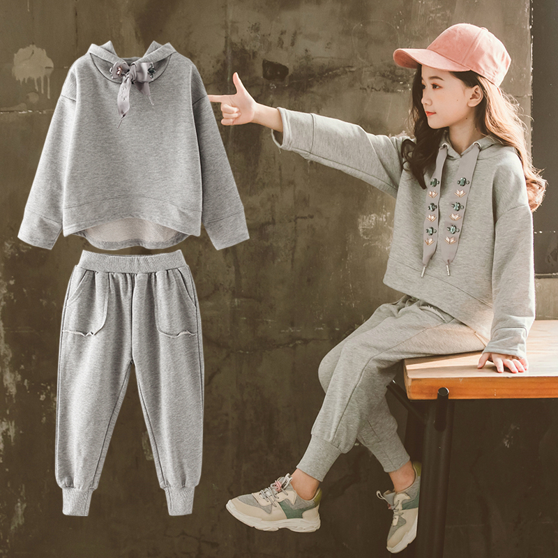 2019 Sport Suit Teenage Girls Clothing Set Long Sleeve Tops Hooded Sweatshirts + Pants Casual Children Girls Clothes 10 12 Years2019 Sport Suit Teenage Girls Clothing Set Long Sleeve Tops Hooded Sweatshirts + Pants Casual Children Girls Clothes 10 12 Years