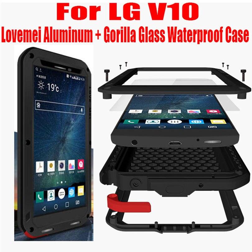 For LG V10 Original Lovemei Aluminum Metal Gorilla Glass Shock Drop Waterproof case for LG V10