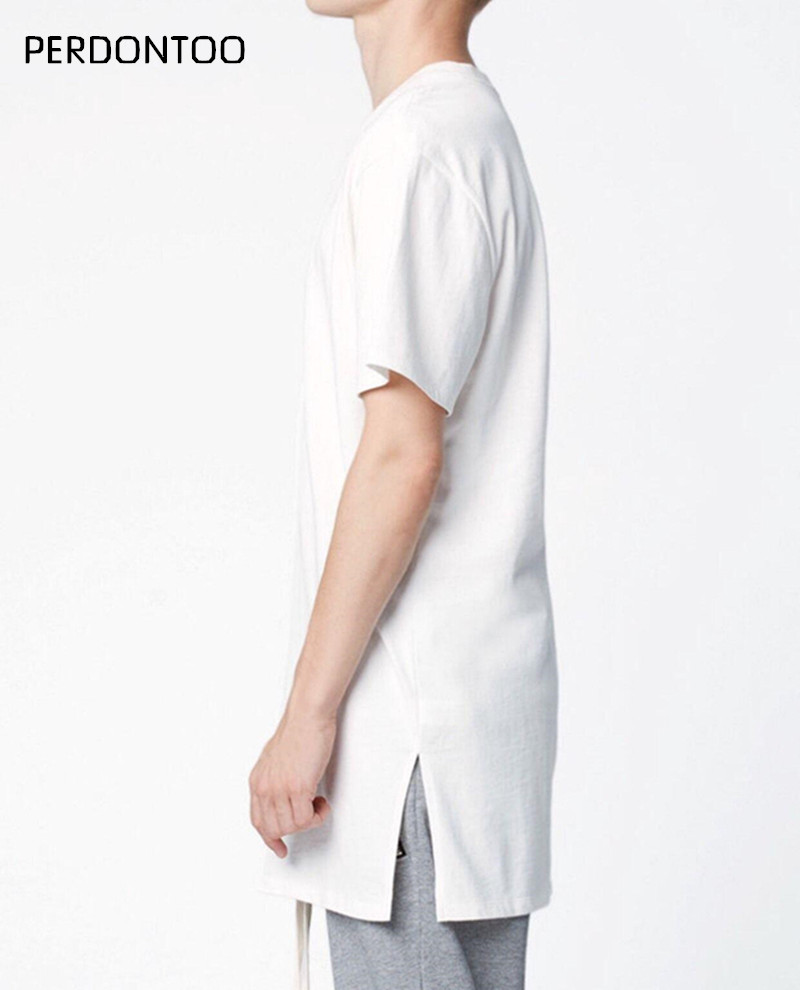 2017 Man Fashion Kanye west Extended Men High Low Side open Casual oversize Hip Hop T Shirt Bieber Style Clothes curved hem Tee