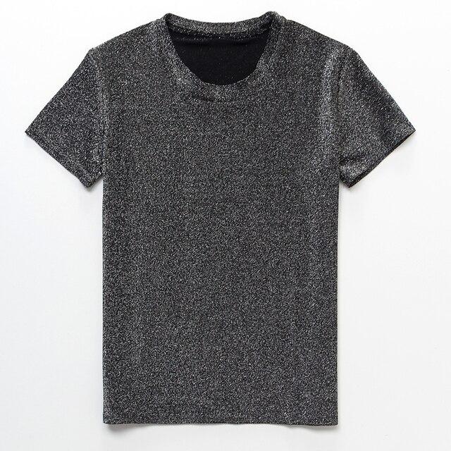 2018 las nuevas mujeres de verano brillante de seda de las mujeres de manga corta Camiseta casual de dibujos animados cuello de gran tamaño camisa