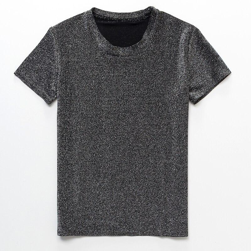2018 Neue Frauen Sommer Helle Glänzende Seide Frauen Kurzarm T-shirt Casual Stretch Cartoon Oansatz Große Größe Lose Shirt