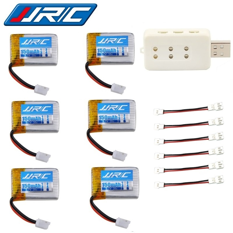 JJRC H36 (6 in 1) USB ladegerät sets 3,7 v 150 mah 30c Für Eachine E010 E011 E012 E013 F36 H36 RC Quadcopter Teile 3,7 v Lipo Batterie