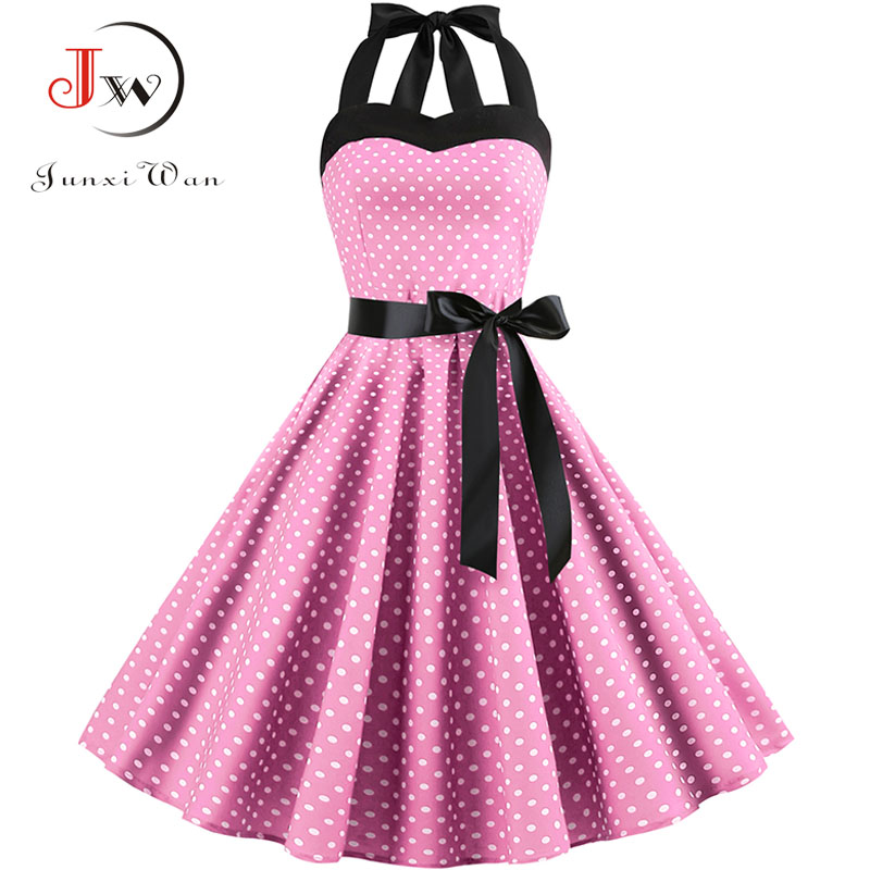 2019 Women Polka Dot Vintage Dress Summer Big Swing Retro Robe Prom Rockabilly Party Dress Sexy Halter Pinup Vestidos Plus Size