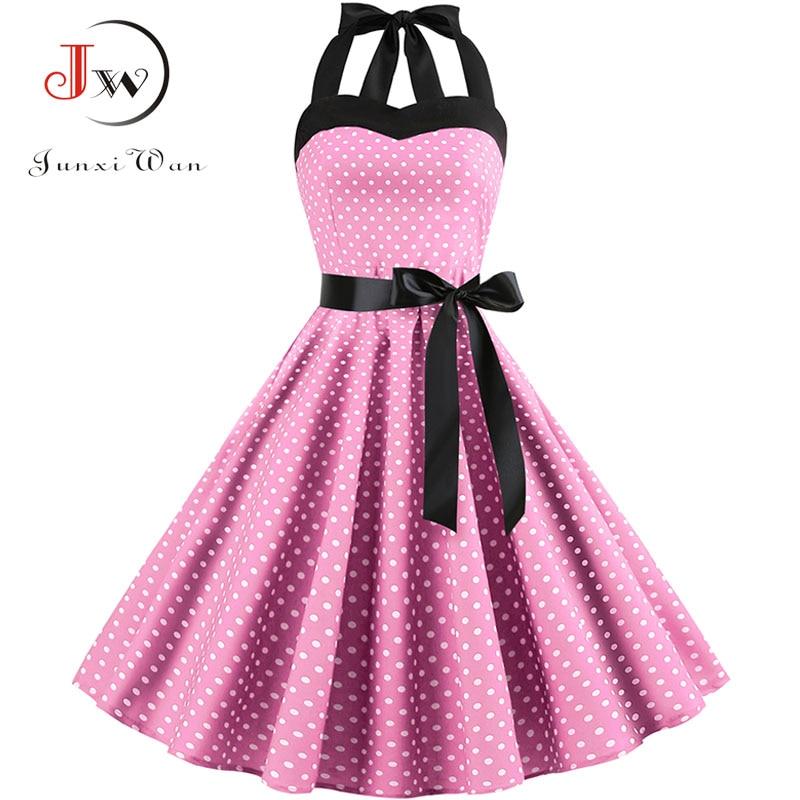 2019 Women Polka Dot Vintage Dress Summer Big Swing Retro Robe Prom Rockabilly Party Dress Sexy Halter Pinup Vestidos Plus Size