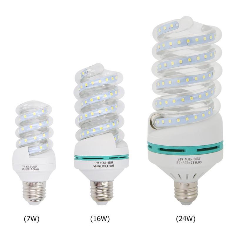 85-265V E27 7W 16W 24W Spiral Tube Energy Saving Lamp LED Light Bulb Tubes 6500K Cold White Fluorescent Light Bulb