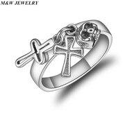 M & W SCHMUCK Religiöse Trend Quer ring Königlichen gemischt Thai silber verlobungsring Männlichen/für frau Schmuck