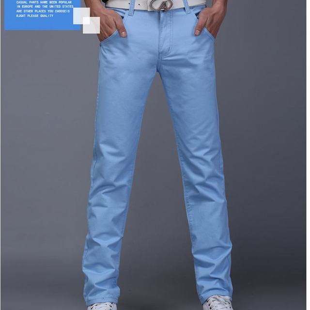 New Design Casual Men pants Cotton Slim Pant Straight Trousers Fashion Business Solid Khaki Black Pants Men