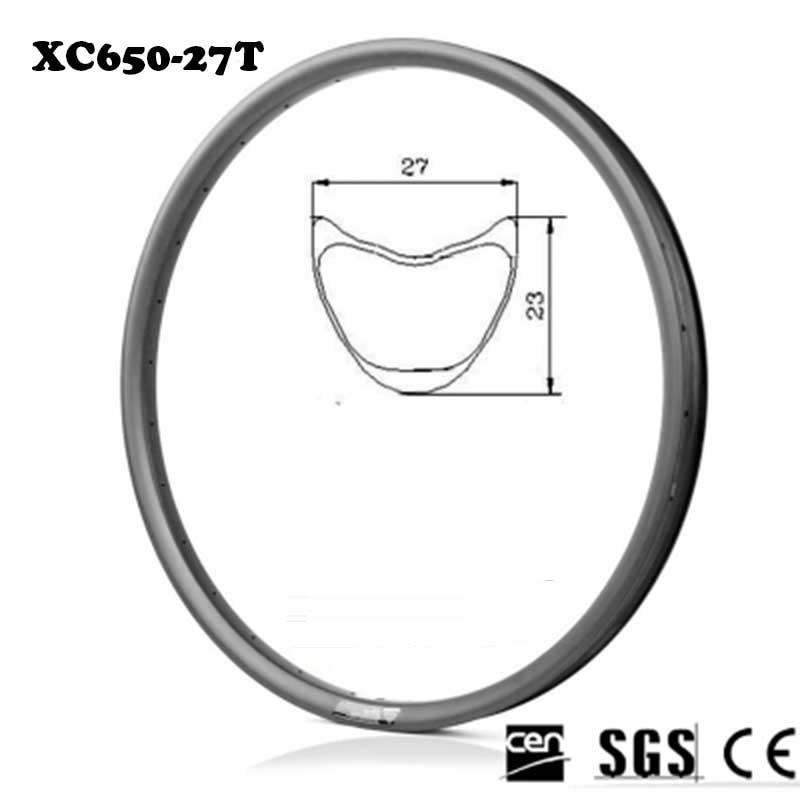27.5er 27mm largeur 23mm SuperLite VTT Carbone Jantes Tubulaires 28-28 H Vélo De Montagne 3 k Mat 280 g/pcs Sans Surface De Frein