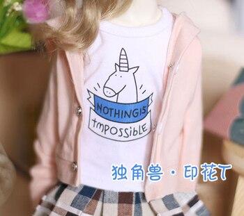 BJD doll shirt white unicorn printing short sleeve T-shirt for 1/3 1/6 BJD SD DD YOSD doll clothes accessories