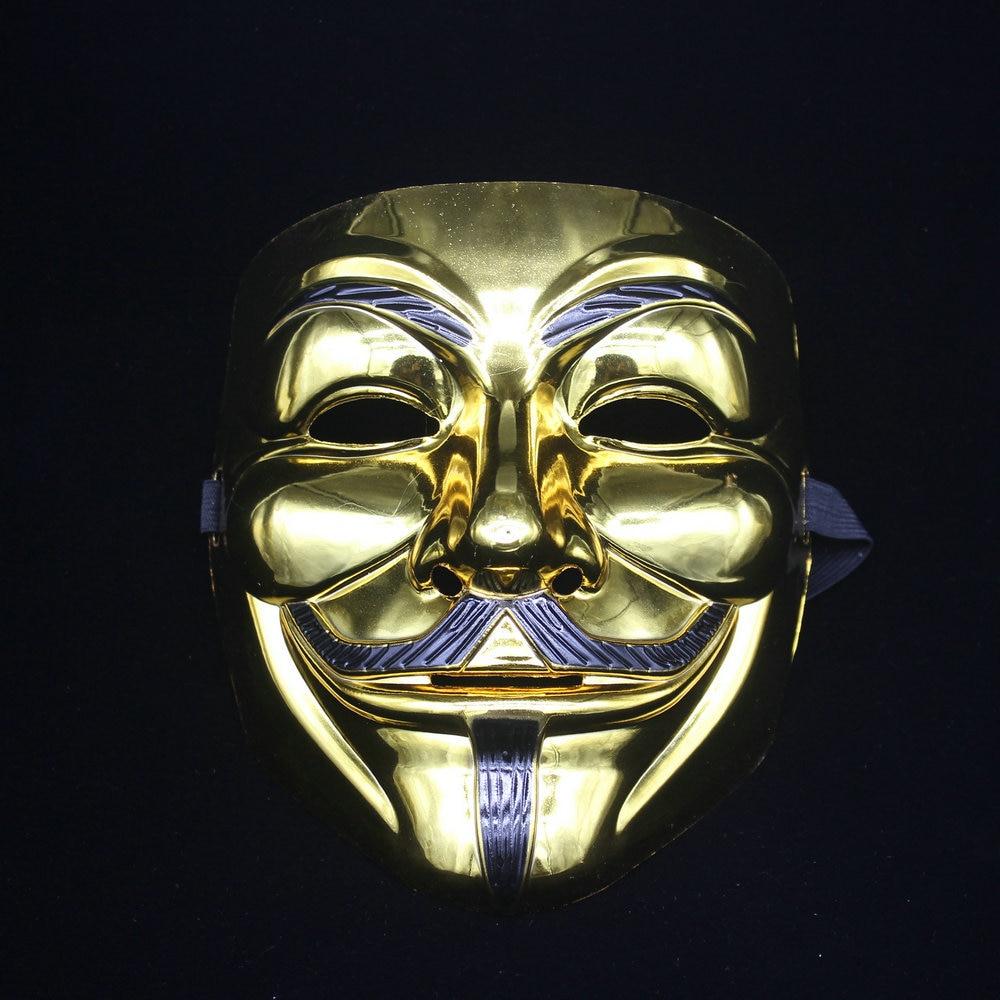 Ev ve Bahçe'ten Parti Maskleri'de Ücretsiz EMS100 adet Film tema V Vendetta maskesi Cadılar Bayramı tam yüz kaplama gümüş altın maske'da  Grup 1