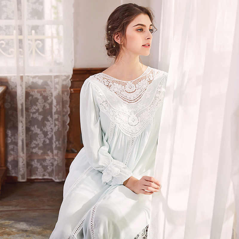 2784f0cc8a0 Дворец Женский Хлопок Ночная рубашка с длинными рукавами Кружева Ночная  рубашка элегантный французский суд ретро романтический
