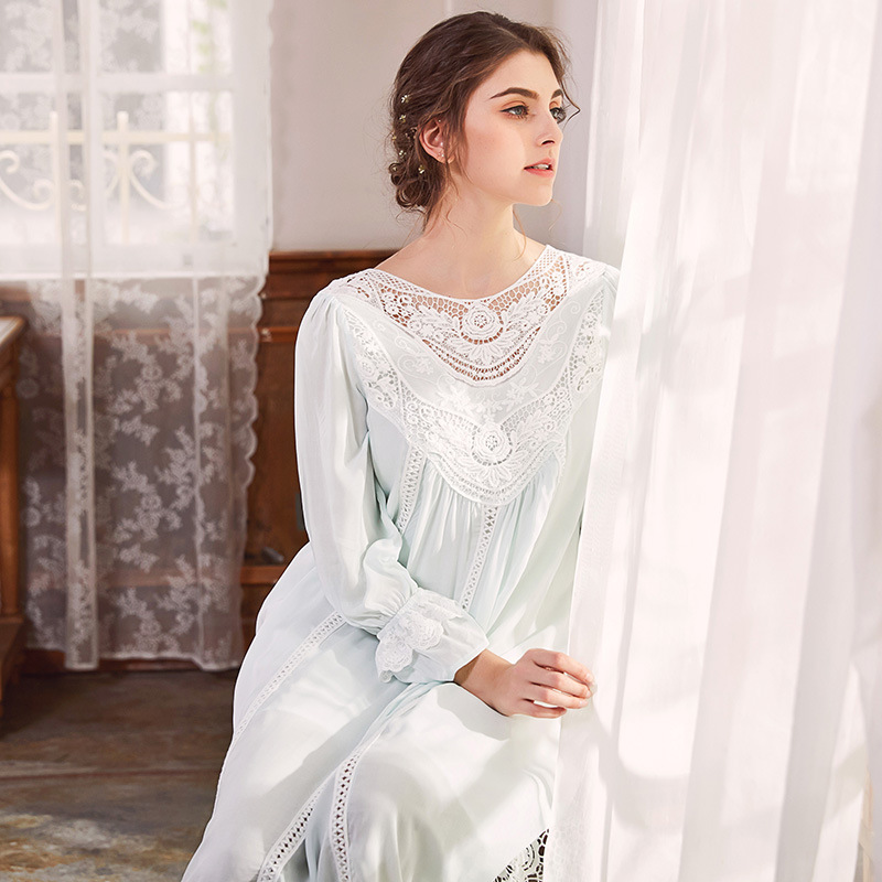 Palace Female Cotton Nightgown Long Sleeved Lace Nightdress Elegant French Court Retro Romantic Princess Autumn Dress Sleepwear