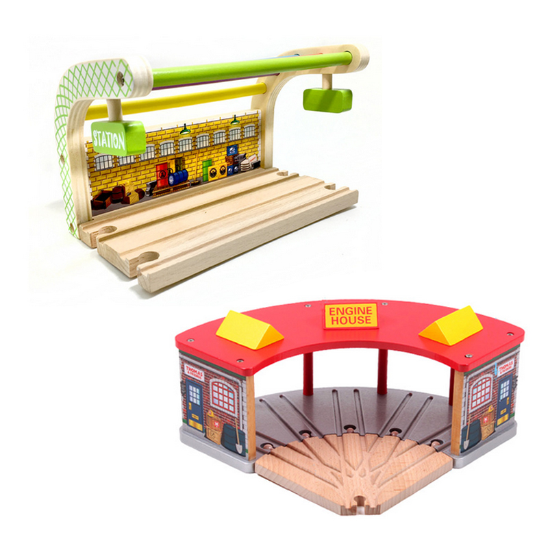 P100 free Red green roof garage station wood track essential accessories compatible Thomas train track Children track toys
