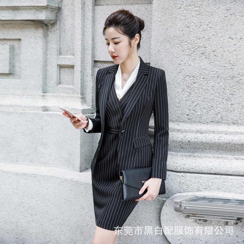 027bd40277b2 ... Oficina Formal de rayas Slim Abrigos Mujer otoño dentada Collar de  manga completa bolsillo chaqueta abrigos ...