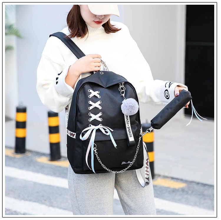 New Fashion Backpack Kpop Bangtan Boys Letter Backpack LOVE YOURSELF Rucksack Travel Bag for Teenager Girls Chain Schoolbag