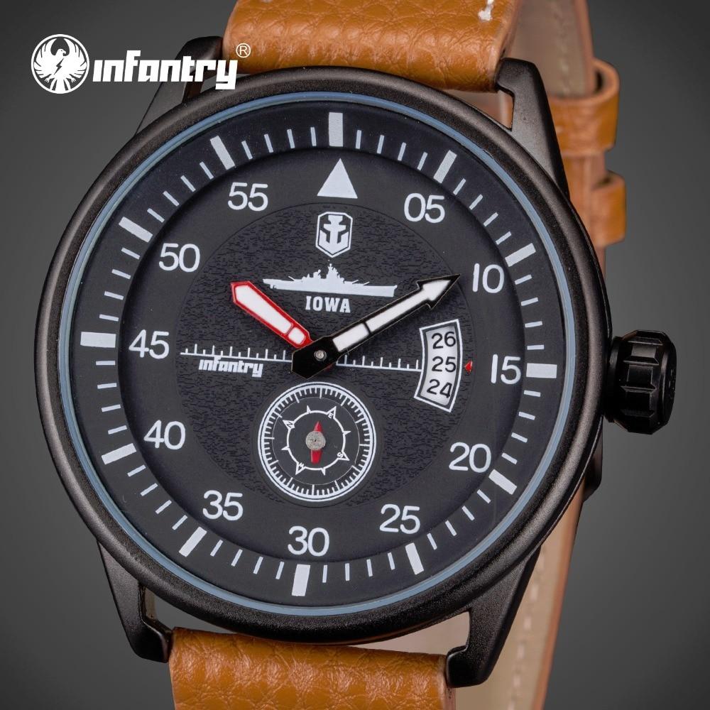 ФОТО INFANTRY Mens Watches Luxury Waterproof PU Leather Japan Quartz Watches Big Dial Military Clock Relogio Masculino World Of Tanks