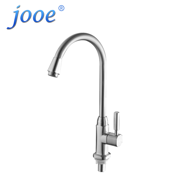 Jooe High Quality Kitchen Faucet Single Cold Water Tap Chrome Polished  Kitchen Grifo Rotation Torneira Cozinha