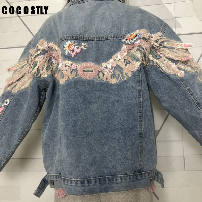 2019 Heavy Jeans Jacket Women Outwear 3D Appliques Floral Basic Jackets Denim Tops Long Sleeves Short Denim Jackets Coat