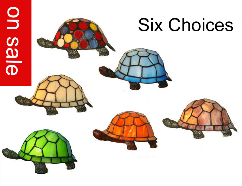 Sales Promotion Brand New Tortoise Style Tiffany Glass Table Lamp Turtle  Fitting Night Light Novelty Lamp Green Blue Orange Cute In Table Lamps From  Lights ...