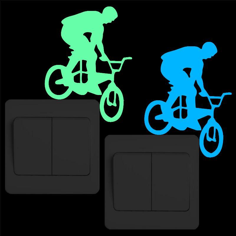 Creative Biking Luminous Switch Sticker Glow in the Dark Bike Wall Stickers for Kids Rooms Living Room Decoration Home DIY Decor
