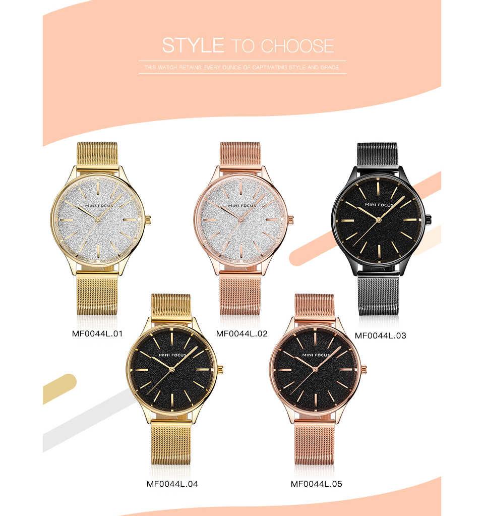 MINIFOCUS トップブランド高級ドレスの女性はクォーツ時計超薄型メッシュストラップブリンブリンダイヤルエレガントな女性腕時計ローズゴールデン
