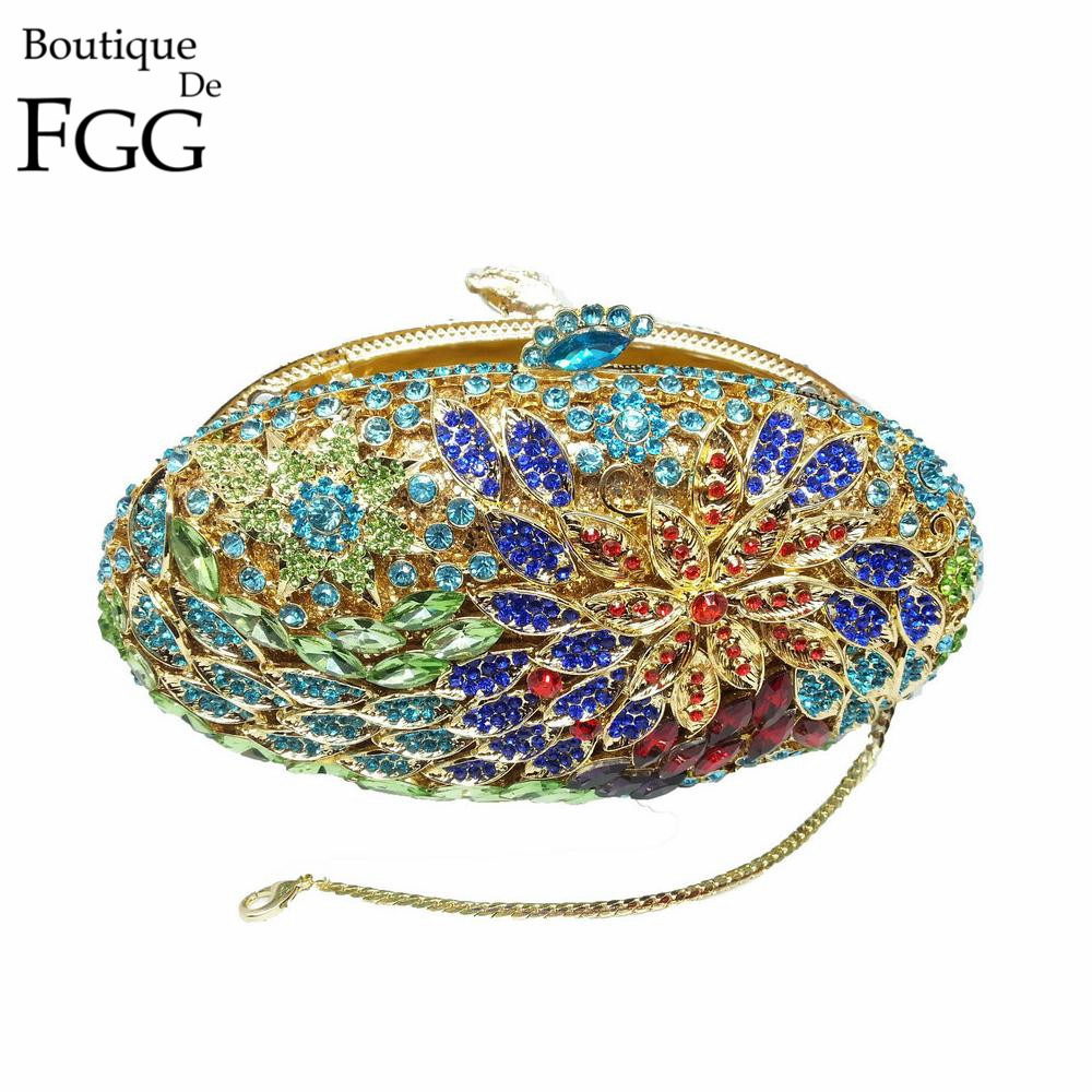 Gift Box Lady Vintage Luxury Diamond Evening Bags Real Gold Plated Women Crystal Flower Clutch Bag For Wedding Bridal Clutches