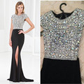 China Cheap Crystal Beading Black Mermaid Evening Dress Luxury Beading Sexy Prom Dresses 2016 chiffon dresses prom gown
