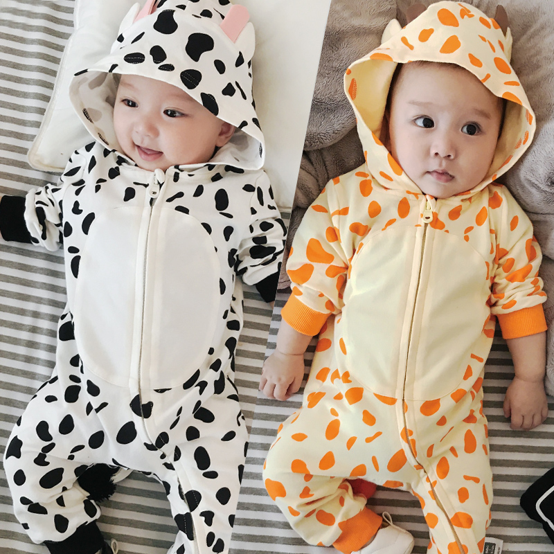 Infant Baby Fall Long Rompers with Tail Cotton Boys Jumpsuits Cow Pattern Newborn Baby Girls Outfits Children Hooded Clothing cotton baby rompers set newborn clothes baby clothing boys girls cartoon jumpsuits long sleeve overalls coveralls autumn winter