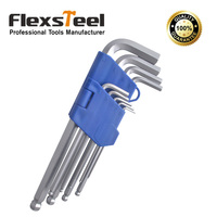 9pcs Ball Point Hex Key Set 1 5 10MM Long Size Cr V Material With Chrome