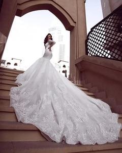 Image 2 - Luxo sereia rendas manga longa vestido de casamento 2019 praia sexy mergulho pescoço lantejoulas longo trem vestidos de noiva robe de mariage