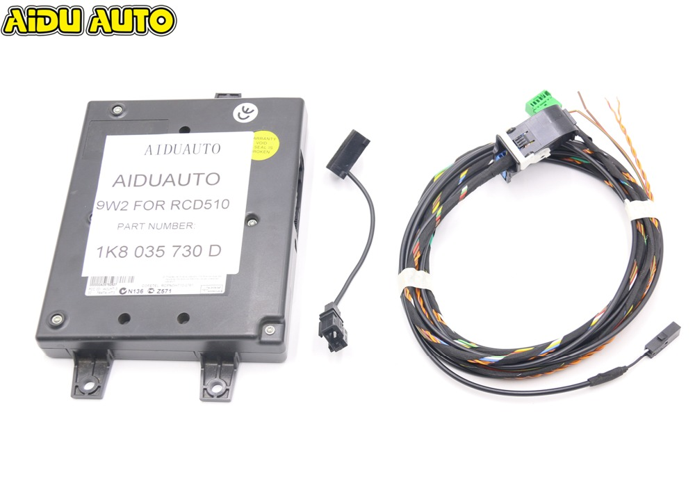 9W2 Bluetooth Module+Harness With Microphone 1K8 035 730 D For VW Golf MK6 Jetta MK5 Fit RCD510