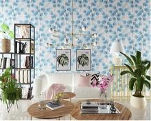 beibehang Modern Nordic wallpaper blue ink leaves bedroom living room tv backdrop restaurant nonwoven papel de parede wall paper