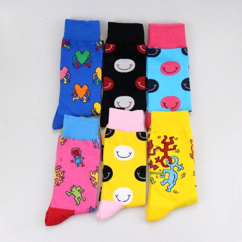 2018 Colorful Character Smiley Crazy Cartoon Face Personality Premium Funny Women Men Unisex Socks Happy Socks Cotton Cozy Socks