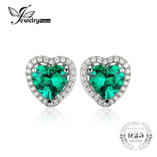 JewelryPalace Heart Of Ocean 2.2ct Green Russian Nano Created Emerald Love Forever Halo Stud Earrings 925 Sterling SilverJewelry