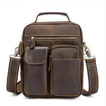 купить Vintage Crazy Horse Genuine Leather Bag Men Messenger Bags Small Shoulder Bags for Men Bag Male Top-handle Handbag по цене 3321.04 рублей