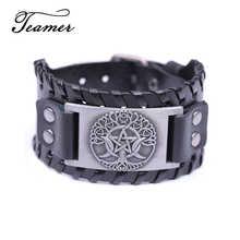 Teamer – Bracelet en cuir à boucle simple pour enfant, accessoire de marque, avec arbre de vie, Triple lune, déesse, pentagramme, Wiccan, amulette