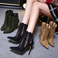 Womens gladiador zapatos talones 2016 Otoño Zapatos de Las Mujeres Señalaron Ahuecan Hacia Fuera Las Bombas de Las Señoras Zapatos Otoño Botines Cortos Mujeres Negro
