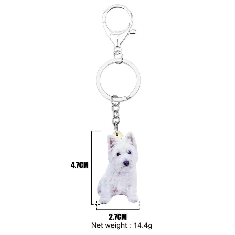 Bonsny Acrílico Doce West Highland White Terrier Chaveiro Chaveiro Anéis de Jóias Para As Mulheres Adolescentes Menina Decoração Animal de Estimação