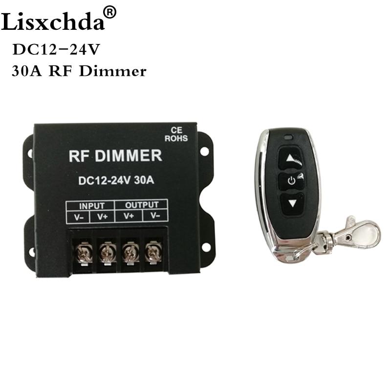 12V RF LED Dimmer Wireless Brightness 3 Keys Remote Controller DC 12V- 24V 30A 360W 720W For 5050 3528 Single Color Strip Lights