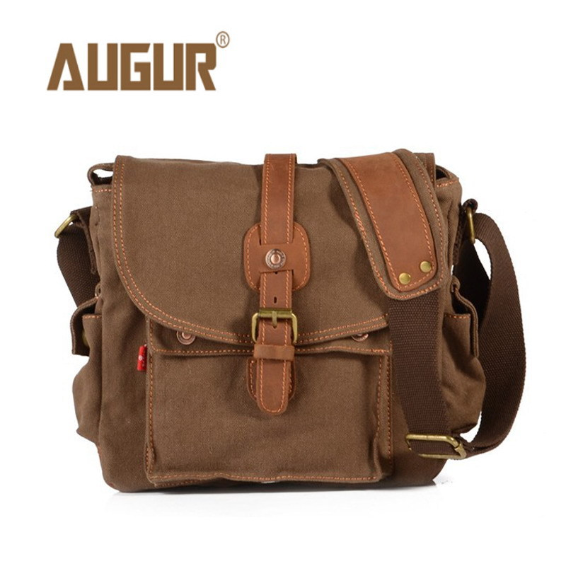 Image 2 - 2017 Canvas Leather Crossbody Bag Men Military Army Vintage Messenger Bags Large Shoulder Bag Casual Travel Bags-in Crossbody Bags from Luggage & Bags