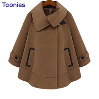 Winter Coat S 2017 European Style Autumn High Quality Cloak Female Lapel Camel Coat Jacket Loose