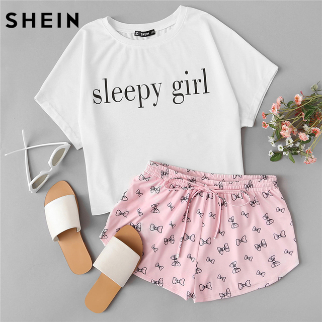 SHEIN Summer Two Piece Set Sleepwear Multicolor Short Sleeve Graphic Letter  Print Top and Drawstring Shorts