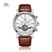 SEWOR 2017 Skeleton Tourbillon Mechanical Watch Automatic Men Classic Silver Gold Leather Mechanical Wrist Watches Reloj Hombre